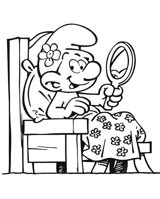 Dibujos para Colorear Pitufo Vanidoso