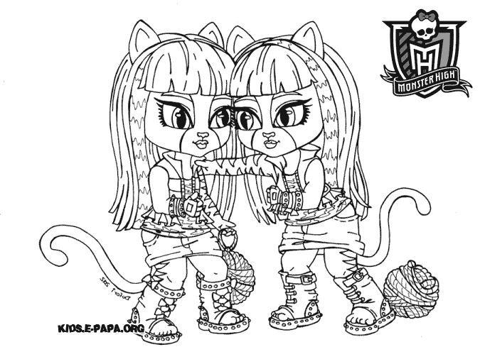 Purrsephone and Meowlody Dibujos para colorear Monster high