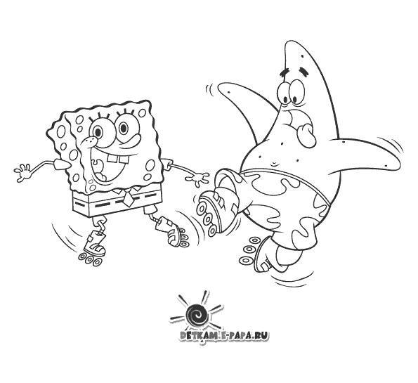 Dibujos para Colorear Patricio y Bob Esponja
